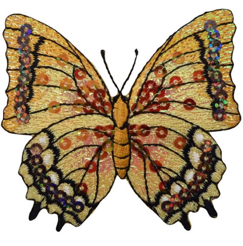"Sequin Butterfly Applique Patch - Yellow and Orange, 3-1/8"" (Iron on)"
