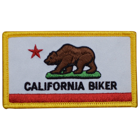 "California Biker Patch - CA Flag, Grizzly Bear, Motorcycle Badge 3.25"" (Iron on)"