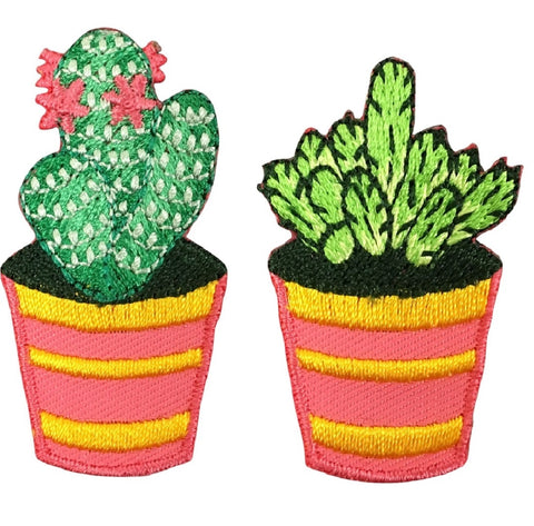 "Cactus Applique Patch - Cacti, Flowers, Succulent Badge 1-5/8"" (2-Pack, Iron on)"