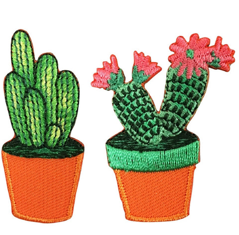 "Cactus Applique Patch - Cacti, Flowers, Succulent Badge 1.75"" (2-Pack, Iron on)"
