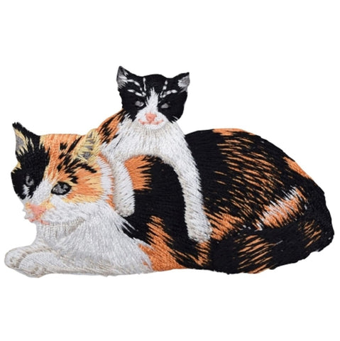 "Kitty Cat Applique Patch -  Calico Cat, Kitten 3-3/8"" (Iron on)"
