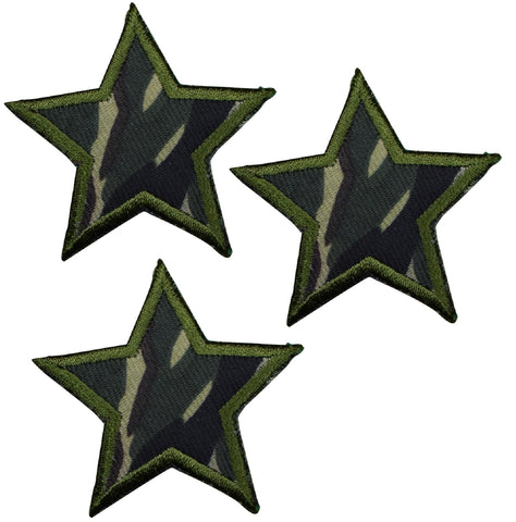 "Camo Star Applique Patch - Woodland Camouflage 2"" (3-Pack, Iron on)"
