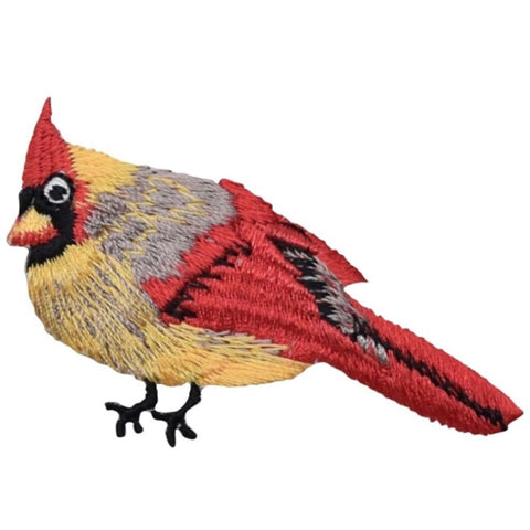 "Cardinal Applique Patch - Female Red/Yellow Bird Badge 2.25"" (Iron on)"