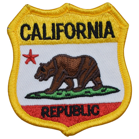 "California Patch - Grizzly Bear, CA Republic Badge 2-11/16"" (Iron on)"