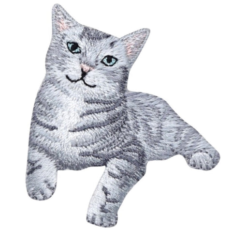 "Kitty Cat Applique Patch - Gray Tabby Kitten 2"" (Iron on)"