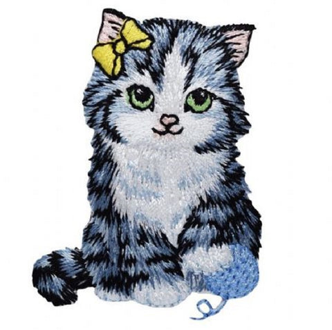"Cat Applique Patch - Yarn, Bow, Kitten Badge 2-3/8"" (Iron on)"