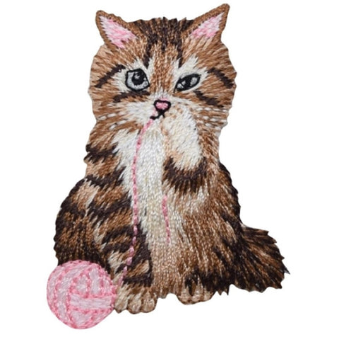 "Kitty Cat Applique Patch - Pink Yarn, Brown Kitten 2-3/8"" (Iron on)"