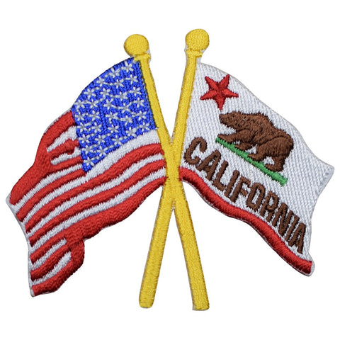 "California Applique Patch - USA Flag, CA Flag 3.5"" (Iron on)"