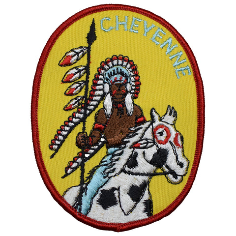 "Cheyenne Patch - Indian, Native American, Horse, Headdress Badge 3-7/8"" (Iron on)"