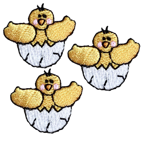 "Baby Chick Applique Patch - Egg, Chicken, Farm Badge 15/16"" (3-Pack, Iron on)"