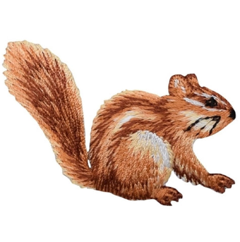 "Chipmunk Applique Patch - Rodent Animal Badge 2.25"" (Iron on)"