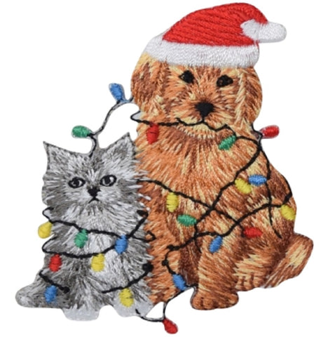 "Christmas Applique Patch - Puppy, Kitten, Dog, Cat, Kitty Badge 2.75"" (Iron on)"