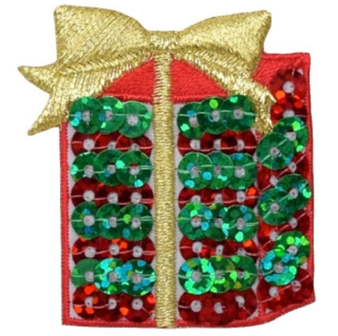 "Christmas Applique Patch - Gift, Present, Gold Bow, Holidays 1.75"" (Iron on)"
