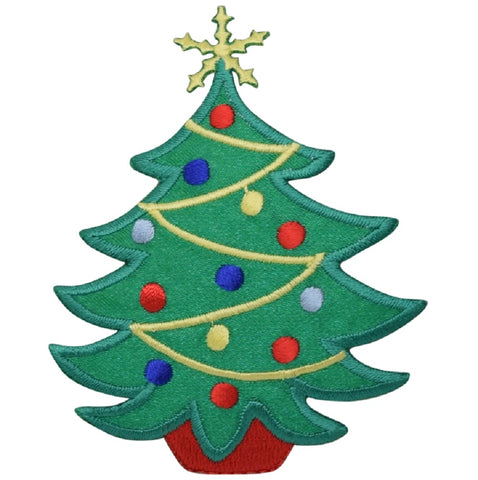 "Christmas Tree Applique Patch - Gold Star, Ornaments, Lights 3.5"" (Iron on)"