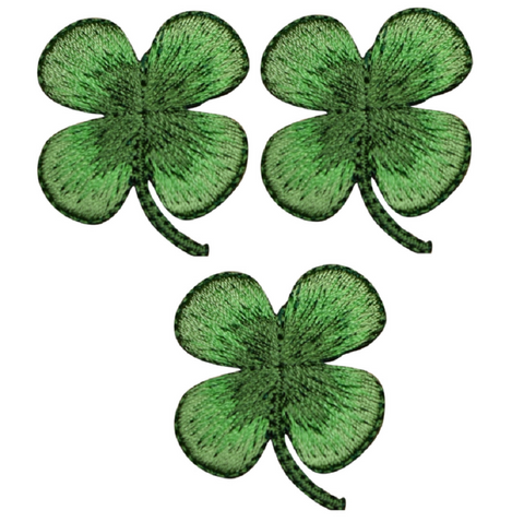 Four Leaf Clover Shamrock Patch Applique (3-Pack, Small, Iron on)
