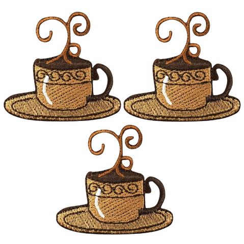 Coffee Espresso Applique Patch - Cup of Java, Steam, Mocha (3-Pack, Iron on)