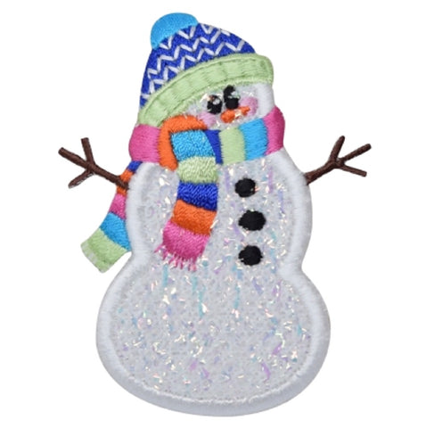 "Confetti Snowman Applique Patch - Hat, Scarf Snow Badge 3"" (Iron on)"