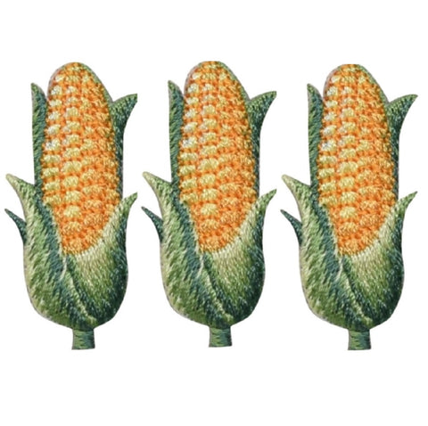 "Corn Applique Patch - Cob, Husk, Ear of Corn 1.5"" (3-Pack, Iron on)"