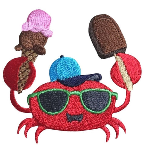 "Crab Applique Patch - Ice Cream, Dessert, Chocolate Fudge Bar 2-3/8"" (Iron on)"