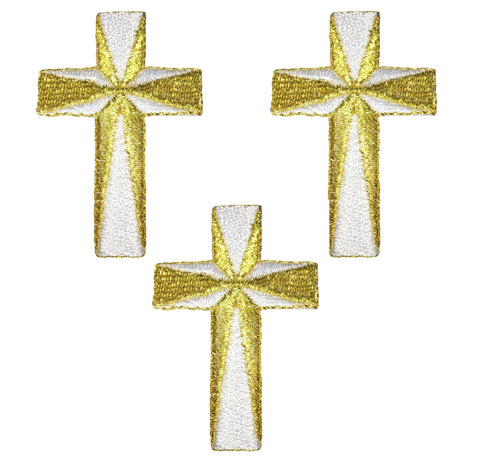 Gold and White Cross Applique Patch - Metallic Thread (3-Pack, Small, Iron on)
