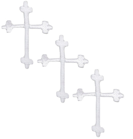 "Mini Cross Applique Patch - White, Jesus, Christian 1.25"" (3-Pack, Iron on)"