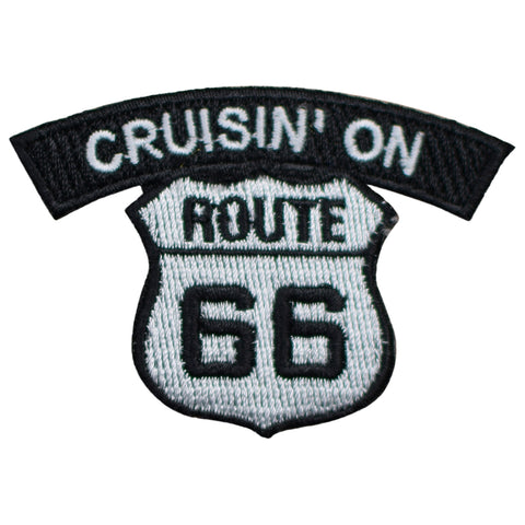 "Cruisin' On Route 66 Patch - Rt. 66 Biker Badge 2.5"" (Iron on)"