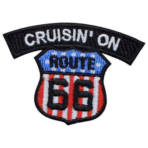 "Cruisin' On Route 66 Patch - USA Theme Rt. 66 Biker Badge 2.5"" (Iron on)"