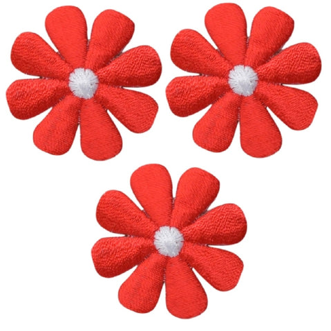 "Mini Red Daisy Applique Patch - Flower, Bloom Badge 1"" (3-Pack, Iron on)"