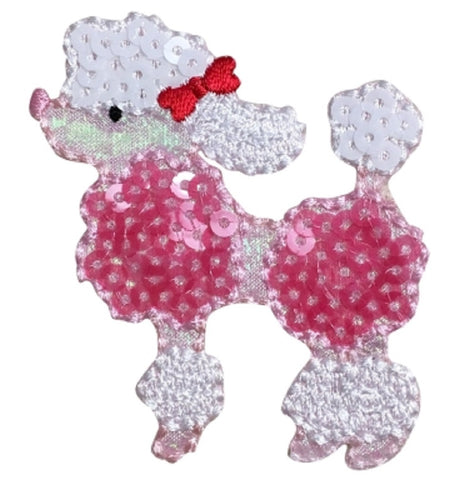 Sequin Poodle Applique Patch - White Dog with Red Bow (Iron on)