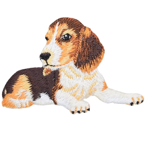 "Beagle Dog Applique Patch - Lying Down 2.5"" (Iron on)"