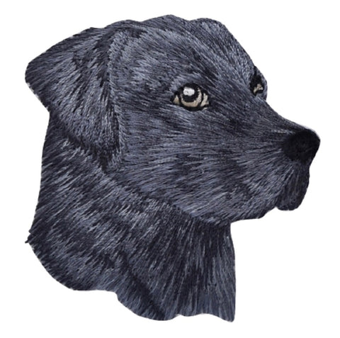 "Dog Applique Patch - Black Labrador, Lab Puppy, Canine Badge 2-3/8"" (Iron on)"