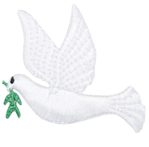 White Peace Dove Applique Patch - Olive Branch, Facing Left (Iron on)