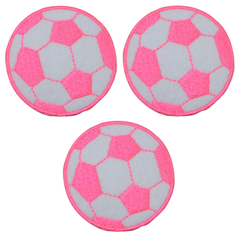 "Soccer Ball Applique Patch - Neon Pink 2"" (Clearance, 3-Pack, Iron on)"