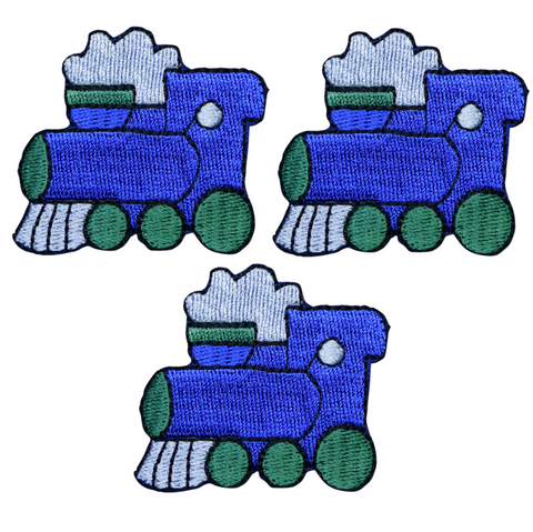 "Train Patch Applique - Choo Choo, Steam Engine, Locomotive 2"" (3-Pack, Iron on)"