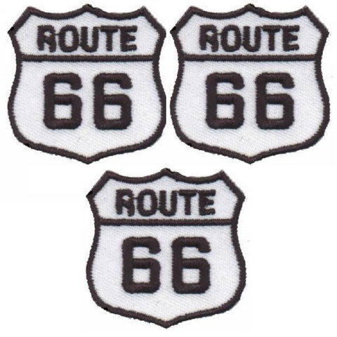 "Mini Route 66 Applique Patch - Rt. 66 Badge 1-3/8"" (3-Pack, Iron on)"