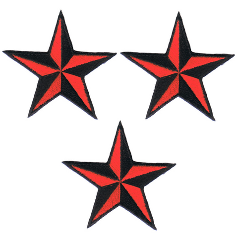 "Nautical Star Applique Patch - Red and Black Tattoo Badge 2"" (3-Pack, Iron on)"