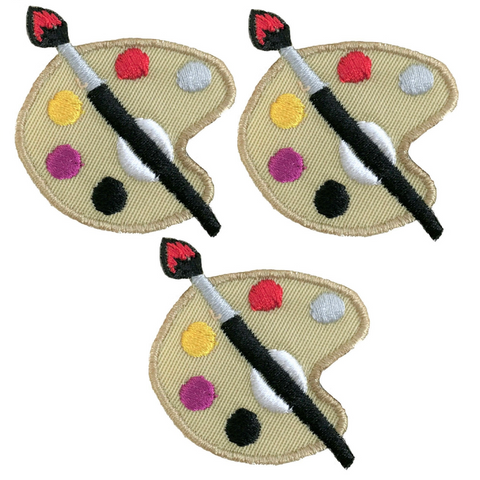 "Painter's Palette Applique Patch - Artist Badge 1.75"" (3-Pack, Iron on)"