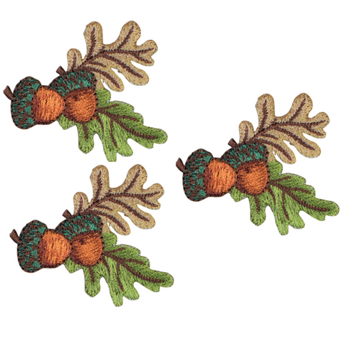 "Acorn Nuts and Leaves Applique Patch 2"" (3-Pack, Iron on)"