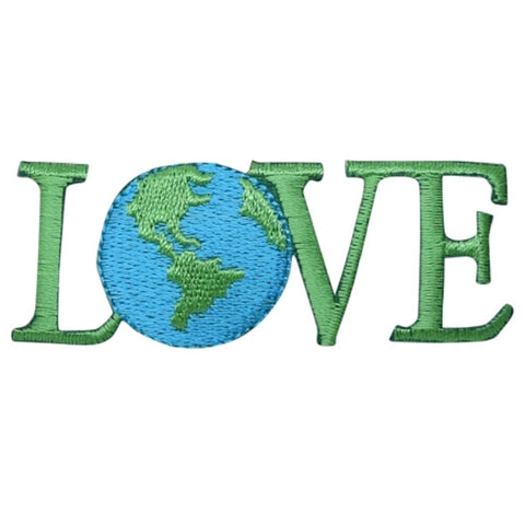 "Love Applique Patch - Planet, Earth Day, Environmental Badge 2-5/8"" (Iron on)"