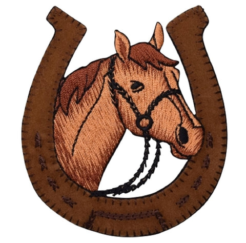 "Horse Applique Patch - Suede, Horseshoe, Cowboy Western Badge 3.5"" (Iron on)"