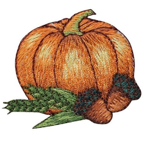 "Pumpkin Applique Patch - Acorns, Fall, Thanksgiving Badge 2.25"" (Iron on)"