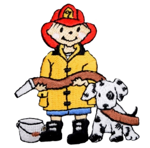 "Firefighter Applique Patch - Dalmatian, Dog, Fire Hose Badge 2.5"" (Iron on)"