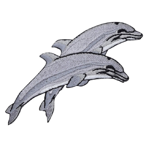 "Dolphin Applique Patch - Jumping Dolphins Badge 3.75"" (Iron on)"