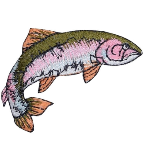 "Fish Applique Patch - Rainbow Trout, Fishing Badge 2-1/8"" (Iron on)"