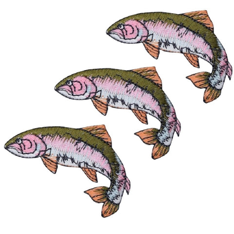 "Fish Applique Patch - Rainbow Trout, Fishing Badge 2-1/8"" (3-Pack, Iron on)"
