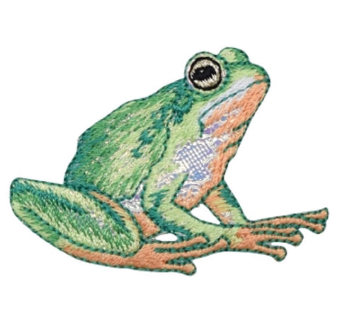 "Frog Applique Patch - Shiny Amphibian Badge 2-3/8"" (Iron on)"