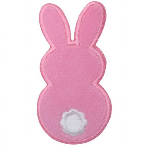 "Bunny Rabbit Applique Patch - Fuzzy Pink Easter Badge 2.75"" ( Iron on)"