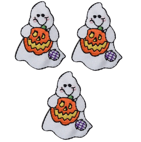 "Ghost Applique Patch - Pumpkin, Halloween Badge 1-5/8"" (3-Pack, Iron on)"