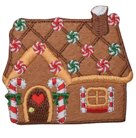 "Christmas Applique Patch - Gingerbread House, Candy Cane, Heart 2.5"" (Iron on)"