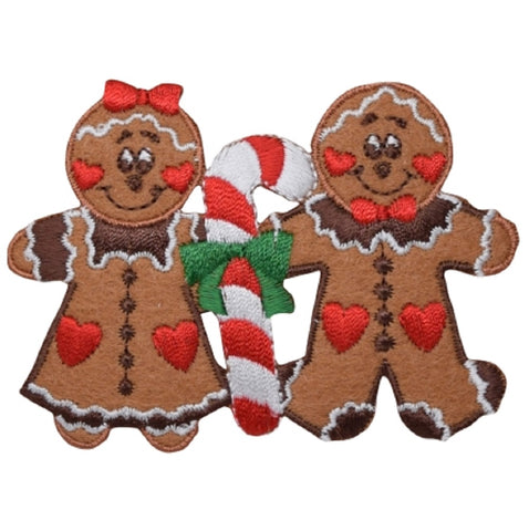 "Christmas Applique Patch - Gingerbread Man, Woman, Candy Cane 3.25"" (Iron on)"